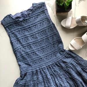 Zara Blue Crochet Lace Drop Waist Mini Dress